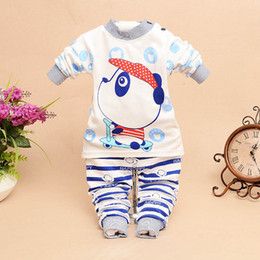 2016 new fashion children autumn clothes suit cartoon cute cotton t-shirts underwear cute bear boys and girls sport suit