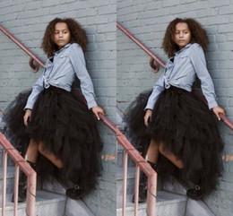 Black Hi-lo Tousy Stylish Tulle Skirt Hot Design Ruffled Knee Length Tutu Tulle Skirts for Women Lovely Dresses Party Wear