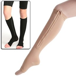 Wholesale New Product Men s Women s Open Toe Knee High Anti Fatigue Zip Leg Compression Support Socks