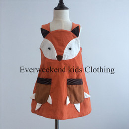 Promotion nouvelles robes de filles de noël New Arrival Kids Robe Fox Fox Fox Claw Pockets Design Patchwork Cartoon Robe Automne Robe Halloween
