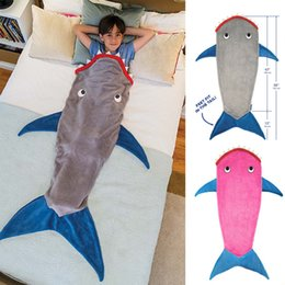Wholesale 2016 New Hot Mermaid Tail Blankets Kid Cartoon Blanket Girls Mermaid Boys Shark Blankets Double Layer Cot Blanket For Kids