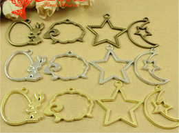 A4172 Wholesale jewelry accessories manufacturers DIY metal frame shaped hollow glue bottom pendant gem rabbit sheep star moon charms