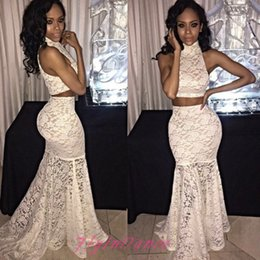 2016 White Two Pieces Prom Dresses Full Lace Illusion Bodice Mermaid Evening Dresses Black Girl Floor Length Party Dresses BA2404