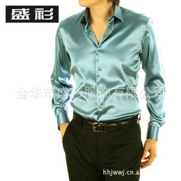 Wholesale-Men silver silk shirt Men Senior black shiny silk satin long-sleeved shirt Tuxedo Shirts
