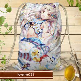 Wholesale Unisex Basic Drawstring Tote Cinch Sack Promotional shoulders Backpack travel sport cartoon shopping Bag custom made