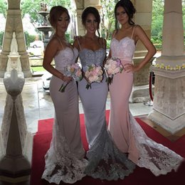 Wholesale Satin Column Bridesmaid Dress - Cheap Bridesmaid Dresses 2016 Spaghetti Straps Sweetheart Sequined Lace Bodice Custom Long Sheath Silver Maid Of Honor Dress Evening Gowns