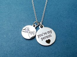 Wholesale 12pcs Pinky Promise You re my person Grey s Anatomy Necklace Greys Anatomy Promis Friendship