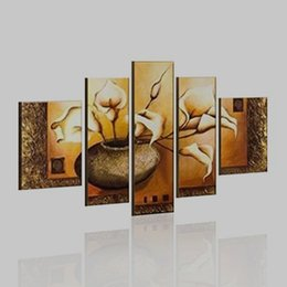 Wholesale 5 Piece Canvas Art Hand Paint Oil Painting with Frame Modern Abstract Art African Landscape Painting Home Decoration