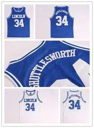 Wholesale Ray Allen Film lincoln school Jesus Shuttlesworth jersey white blue jersey size S M L XL XXL Best Quality