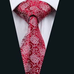 Hot Sale Red Men Ties Drop Shipping Mens Tie Set Wholesale Fashion Novelty Red Flower woven Cheap Ties For Wedding D-1087