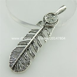 Wholesale 18726 X Vintage Silver Filigree Plant Banana Leaf Bail Feather mm Pendant
