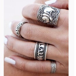 Vintage Punk Bohemia Ring Set Unique Carved Antique Silver Elephant Tibetan silver Totem Ethnic Lucky Rings for Women Boho Beach Jewelry