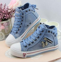 Wholesale Elevator denim canvas shoes women s high casual shoes after the bandage fashion shoes for female shoes boots