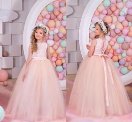 Summer Flower Girl Dresses For Weddings Ball Gown Princess Floor Length White Lace Tulle Appliques Flower Girl Dress Pageant Gowns