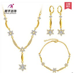 Fast Free Shipping Fine 14K yellow gold filled chain necklace bracelet earring set Zircon female flower bridal jewelry suit birthday gift