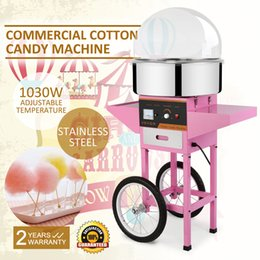 Wholesale COMMERCIAL COTTON CANDY MACHINE FLOSS MAKER Brand New Commercial Electric Cotton Candy Machine Floss Maker Pink with Cart Stand Cover