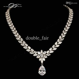 Luxury Imitation Crystal Wedding Necklaces & Pendants White Gold Plated Fashion Imitation Gemstone Jewelry for Women Chain DFN557