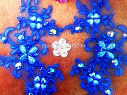 Handmade sew on royablue sequins patches Rhinestones lace applique Delicate embroidered 23*10cm for top dress skirt m306