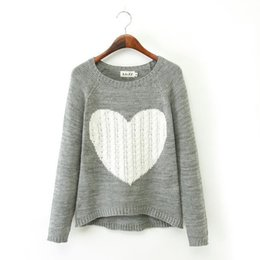 Wholesale Fashion Women Coat Big Love Heart Sweater Pullovers lady Casual Knitted Coat two Colors az