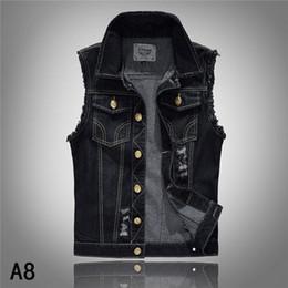 Men's Top Designed Denim Vest Waistcoat with Broken Holes Man Jeans Jackets Black