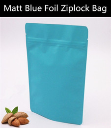 Wholesale 50pcs micron Matt Blue Aluminum Foil Ziplock Bag Stand up Blue Anti ray Quality Zip Pouch Doypack Frosted Packaging Bag