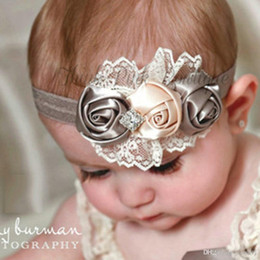 New Hot Fashion Elastic Headbands Rose Flower Crystal Baby Hair Accessories Baby Girl Children Hair Bands 2016