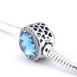 Radiant Hearts Sky Blue Crystal Charms Fits Pandora Original Charm Bracelets 925 Sterling Silver Beads For Jewelry DIY Christmas Jewelry