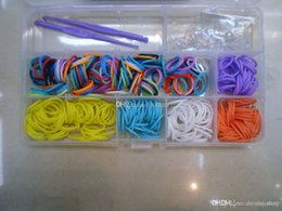 Wholesale Shell Bracelet Kids - new 2014 loom bands Rainbow loom kit DIY rubber wrist bands braided bracelets Kids Christmas toys (300 bands +24 S clips +2 Hook +1 shell)