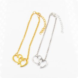 2016 New Double heart sexy anklet girl love anklets fashion gold chain anklet jewelry free shipping