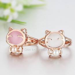 18K Gold Plated Lovely Opal Stone Cat Ring with Simulated Pearl Finger Ring For Women Daily Wearing