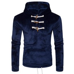 Free Shipping US Size S-2XL High Quality 2017 New Men's Winter Fashion Horn Button Coral Fleece Pullover Hooded Sweater
