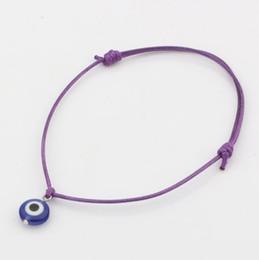 Malos encantos ojo azul en Línea-Caliente ! 200 PC de acrílico azul de los ojos de las pulseras del grano del encanto del mal - ajustable cuerda púrpura Ceras encanto pulseras de la suerte de los ojos perlas pulseras