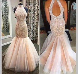 Halter Sexy Pearls Evening Dresses 2016 Sleeveless Mermaid Hot Party Prom Dress Pleats Trumpet Tulle Special Lady Gowns Custom made