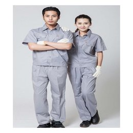 Wholesale Summer Work Uniform Clothes Short Sleeve Overalls Suit Unisex Superior Fabric Anti dust Five Size White Color Best Selling Light Grey