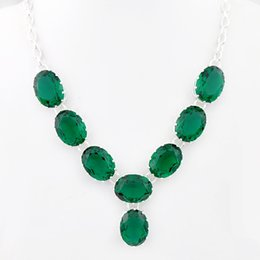 Wholesale Luckyshine Christmas Day Item Sterling Silver Russia American Australia Best Seller green topaz crystal necklace for lady festival