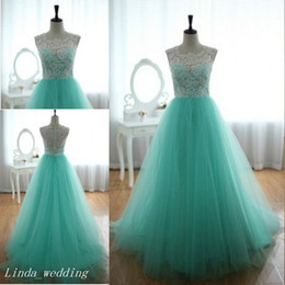 Vintage Turquoise Prom Dress Beautiful Real Photos Long Lace Tulle Women Special Occasion Dress Evening Party Gown