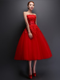 2016 New Strapless Homecoming Dresses lace applique fold simple sweet Gown red lace party Evening Dress plus size