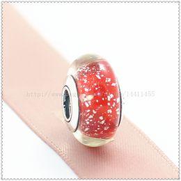 5pcs S925 Sterling Silver Screw Core Snow Whites 's Signature Color Fluorescence Murano Glass Beads Fit European Pandora charm Bracelets