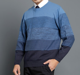 2017 Hot Sale Men Pullover XL Men Sweater Sudaderas Mens Classic Business Loose Fit Admiral Blue Crew Neck Knit Stripes Sweater