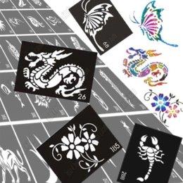 Wholesale 30pcs Glitter Airbrush Tattoo Stencil Templates Flowers Butterflies Dragon Skull Cartoon Sexy Women Men Kids Tattoo Stencils
