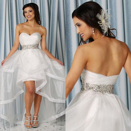 Wholesale Active High Low Short Wedding Dress Sweetheart Sleeveless Ruched Colorful Crystals Organza Casual Informal Bridal Gowns