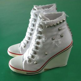 Wholesale Ash Women s Studded Canvas Wedge Sneakers in White Lace Up Fashion Trainers Canvas On Hot Sale Tide Casual Sport Shoes Size