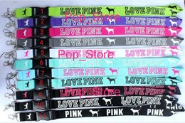 Wholesale FREE DHL SHIPPING Clothing popular logo Love pink KEY Lanyard ID Holder For Party Key lanyard ID holders Mix order for collection colors