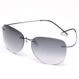 Wholesale Highest quality New Titanium Frame Sunglasses Gradient Rimless pure Eyeglasses Men women Driving pilot eyeglasses With Case Oculos de grau