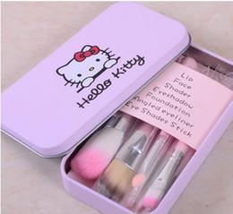 Wholesale Brand Makeup Set Hello Kitty Cosmetic Brush Kit Makeup Brushes Set Pink Black Iron Case Toiletry beauty appliances DHL Free