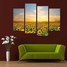 4 Panel Sunflowers Canvas Prints Artwork Landscape Pictures Paintings on Canvas Wall Art for Home Decorations Wooden Framed Ready to Hang