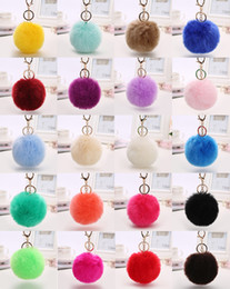 Wholesale Cute Plush Key Rings Faux Fox Fur Ball Metal Keyrings Soft Pom Poms eychain For Car Bag Keychains Key Chain Accessories