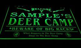 LS583-g Name Personalized Custom Deer Camp Big Racks Bar Beer Neon Sign