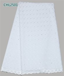 Wholesale Smooth feeling polish cotton Swiss lace fabric African lace for men and women high quality yards CHL25