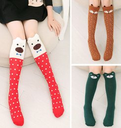 Wholesale Fashion new korean children socks girls cute fox polka dots socks kids cartoon cats long socks children bear knee BOOT high socks A8106